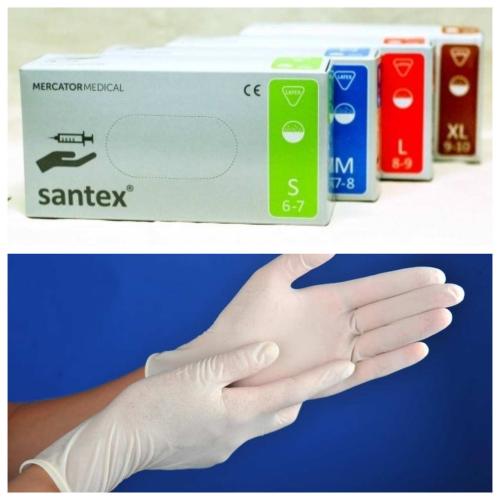 Перчатки латексные Santex белые р.L 1 пара