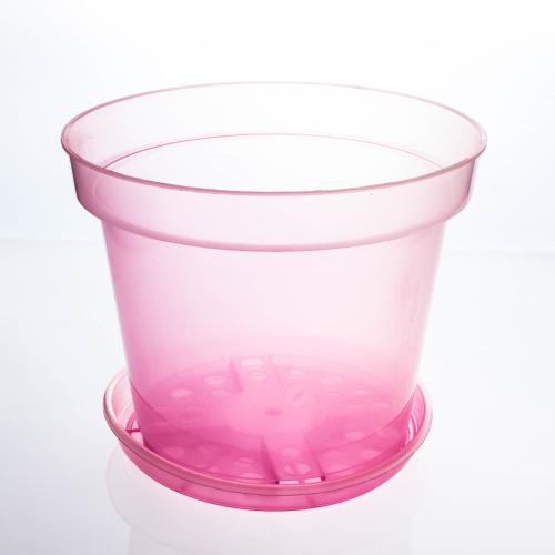 Горшок с поддоном для орхидей - D130, 0,9 л,130*90*110, розовый