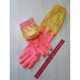 Перчатки резиновые розовые с желтой резинкой р. L